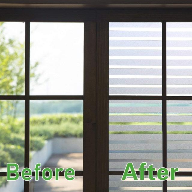 Window Sticker Striped Blinds Window Decal Non-Adhesive Privacy Film, Vinyl Glass Film Window Tint for Home Kitchen and Office 2