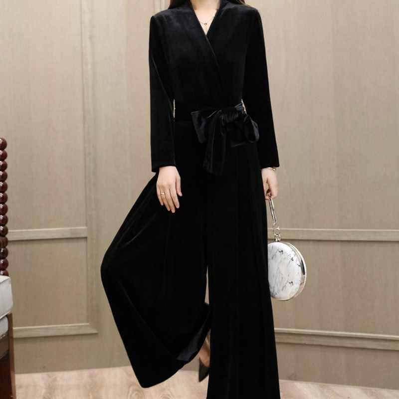 Macacões para mulheres moda coreano cintura alta perna larga macacão feminino elegante decote em v ajuste fino macacão feminino plus size