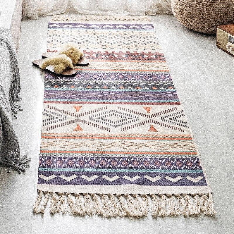 Bohemian Simple Tassel Cotton Linen Area Rug Carpet For Living Room Bedroom Bedside Floor Mat Retro Geometric Long Carpets Rugs