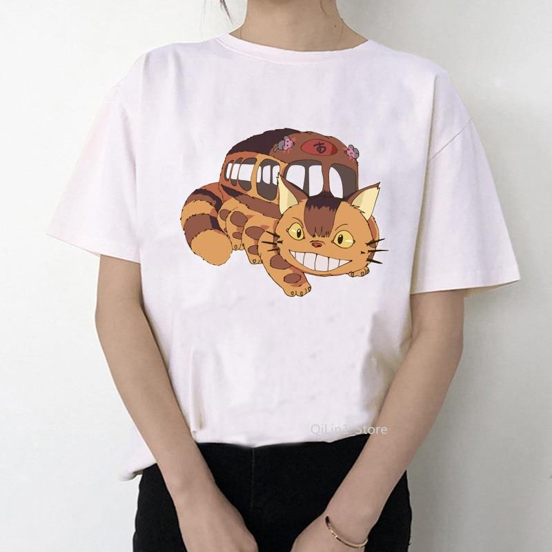 Women Tshirt Anime Totoro Cartoon Cat Bus Print T Shirt Womens Short Sleeve Funny Catbus T-shirt Casual Summer Tops Tees