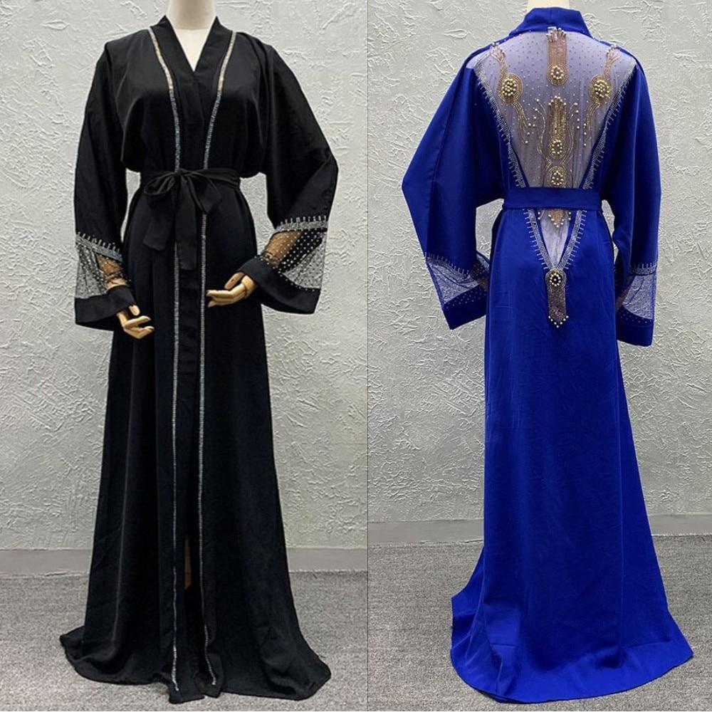 2020 Abaya Dubai Muslim Dress African Dresses For Women Dashiki Luxury Mesh Diamond Ramadan Kaftan Kimono Islam Africa Clothing