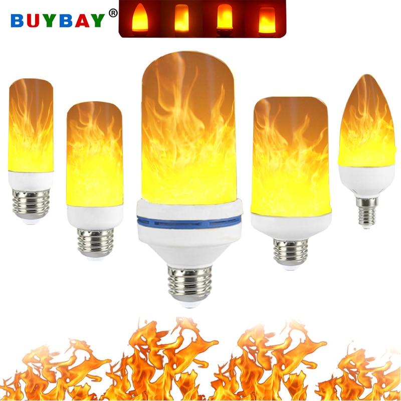 Bombilla LED con efecto de llama con sensor de gravedad E27 E26 E14 E12 bombilla LED con forma de llama 3D lámpara de fuego dinámico 3W 5W 7W 9W lámpara Novedosas Bombillas E27, bombilla LED de 220 V, 4,5 W, 8 W, 220 V, lámpara LED E27 de alta calidad