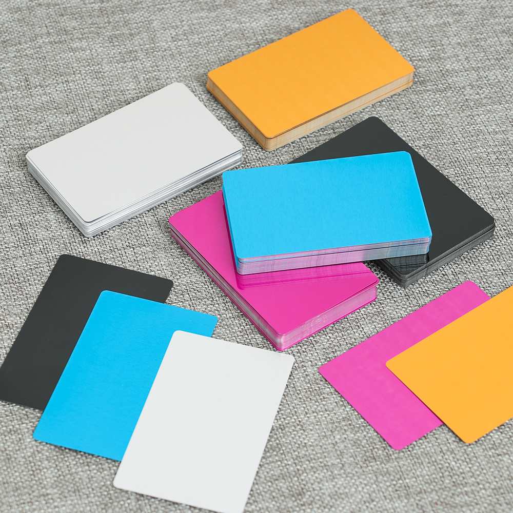 50 Pcs/Set Colorful Aluminum Alloy Business Card Portable Metal Carte Name Cards Laser Engraving Business Visit Art Crafts