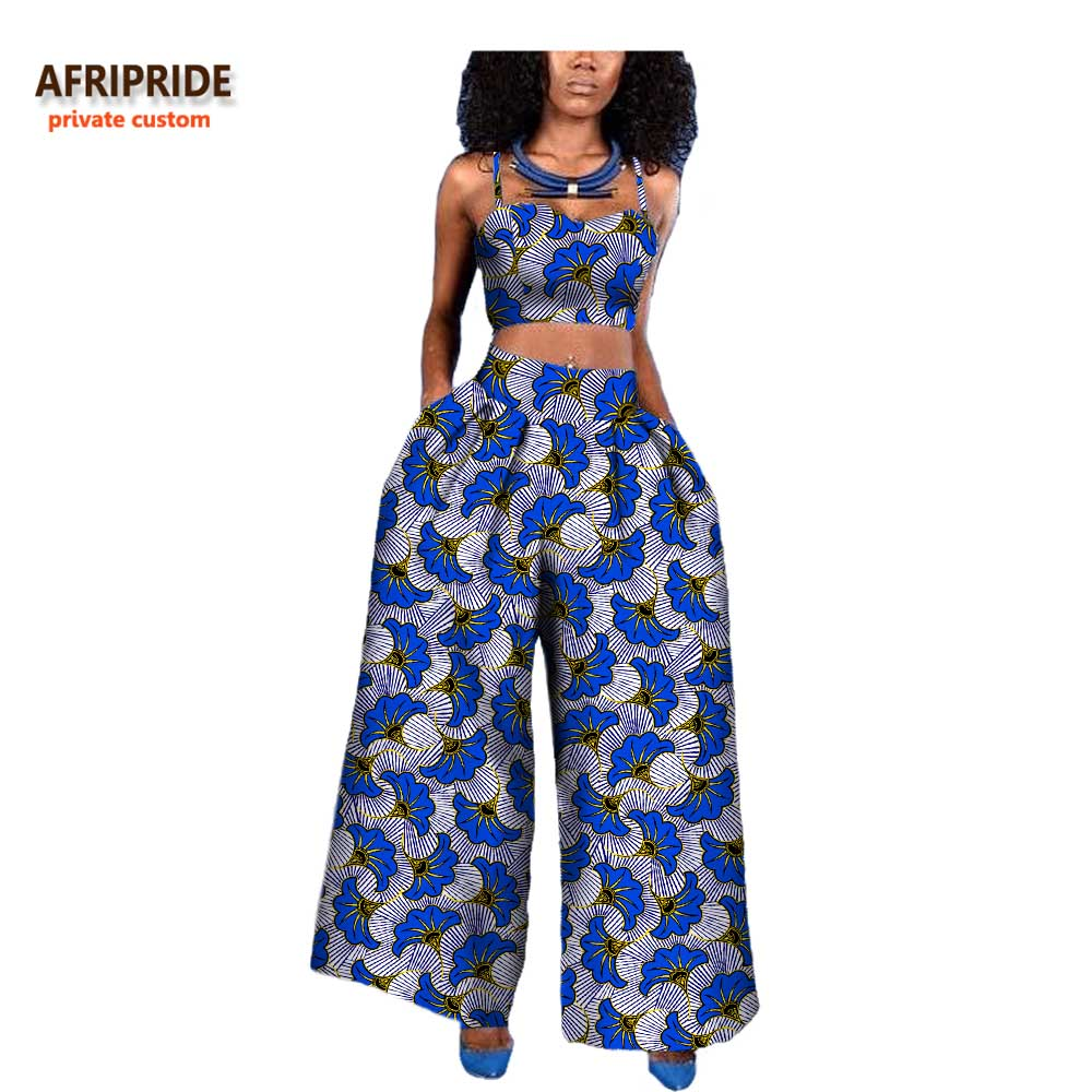 18 Women 2-pieces Suit African Style AFRIPRIDE Private Custom Sleeveless Halter Short Top + Ankle-length Wide Pant Suit A722646