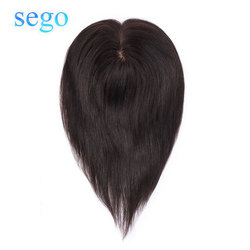 SEGO Straight Intermediate Silk Base Hair Topper Pure Color Toupee Hairpieces for Women 100% Remy Human Toupee Hair for Women