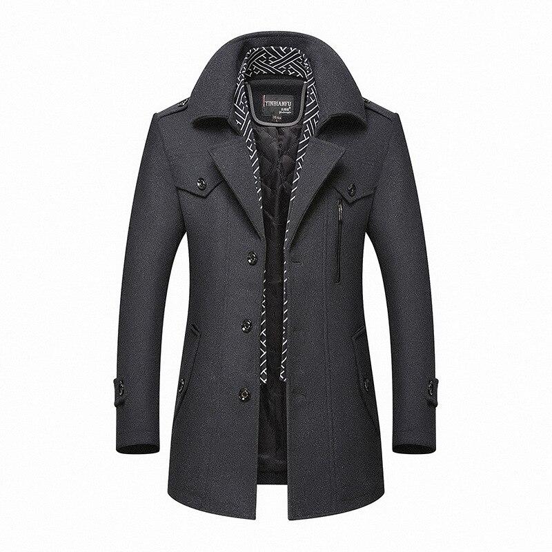 Men Winter Wool Coat Men's Business Casual Solid Color Warm Thick Wool Blends Woolen Pea Coat Male Trench Coat Overcoat