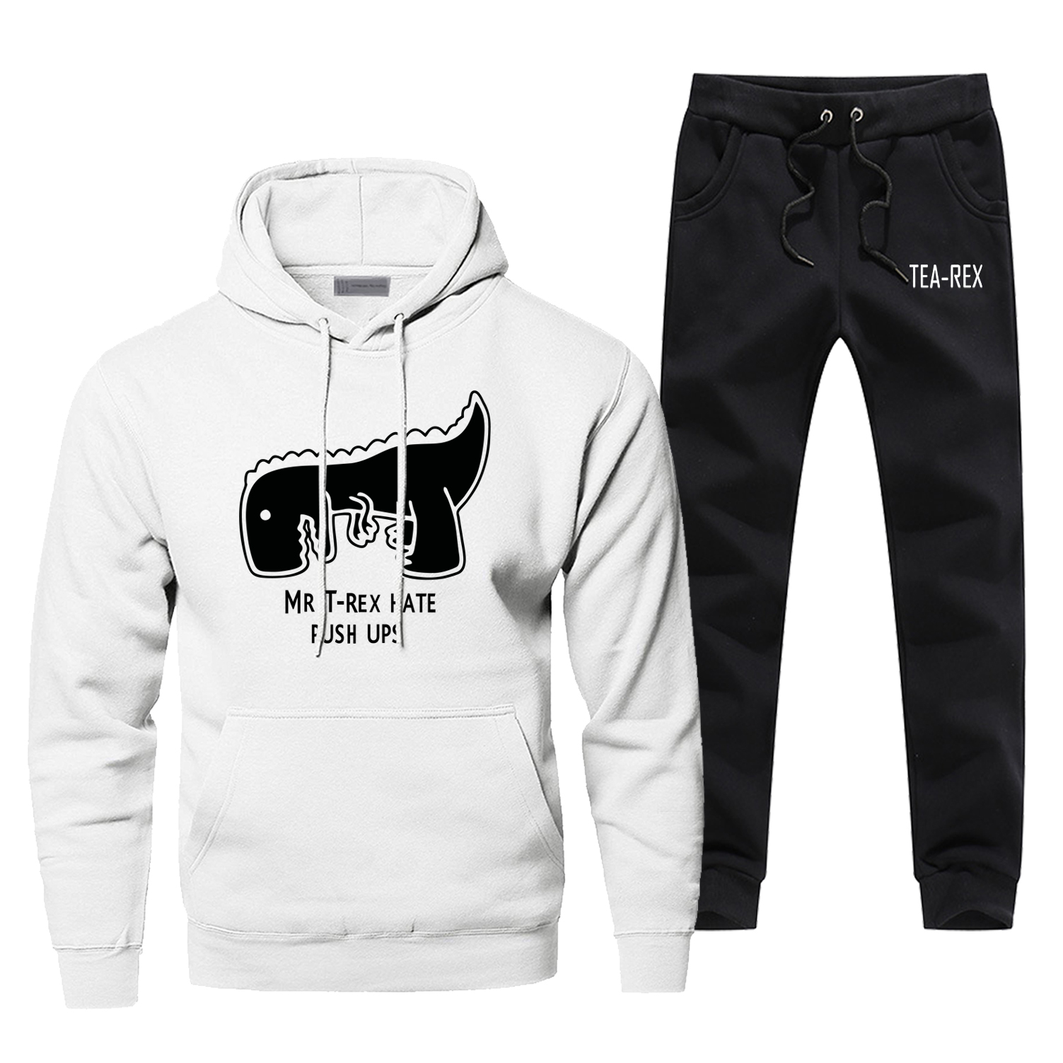 Mr Trex Hate Push Ups Hoodies Pants Set Men Sets Suit Hoody Pant Sweatshirt Sweatpants Pullover 2 PCS Streetwear Black Tracksuit