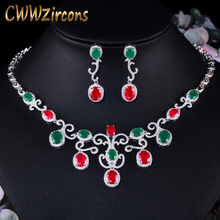 CWWZircons Vintage African Green Red Cubic Zirconia Wedding Necklace and Earrings Brides Jewelry Set Costume Accessories T463