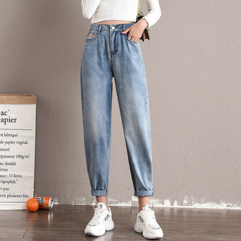 2020 Women Jeans Spring Autumn Casual Denim Pants Girlfriends Jeans Female Straight Trousers Loose Jeans Vintage Retro New 2020 new fashion jeans for women personality tassel hole denim ankle length pants casual female jeans straight trousers autumn