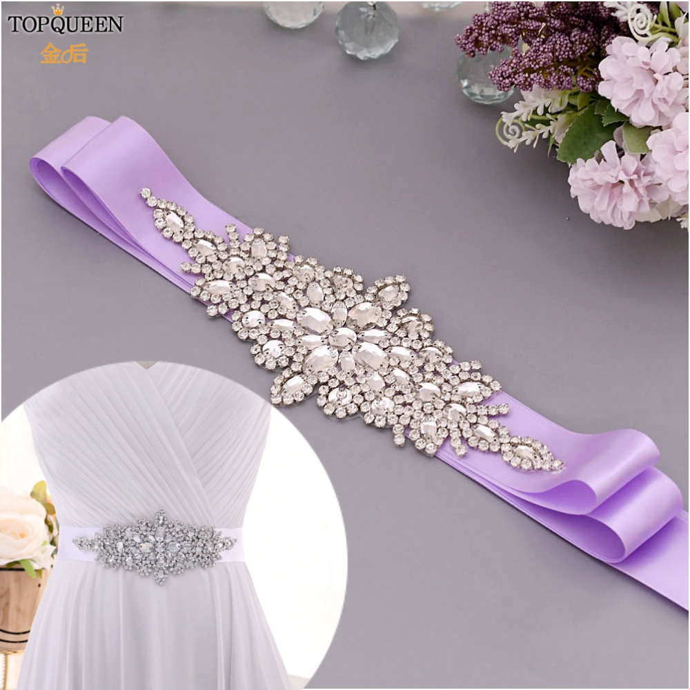 TOPQUEEN Bridal Belt Women Evening Dress Accessory Bead Belt Wide Rhinestone Bridal Belt Fashion Bridal Belt Glitter Belt  S01