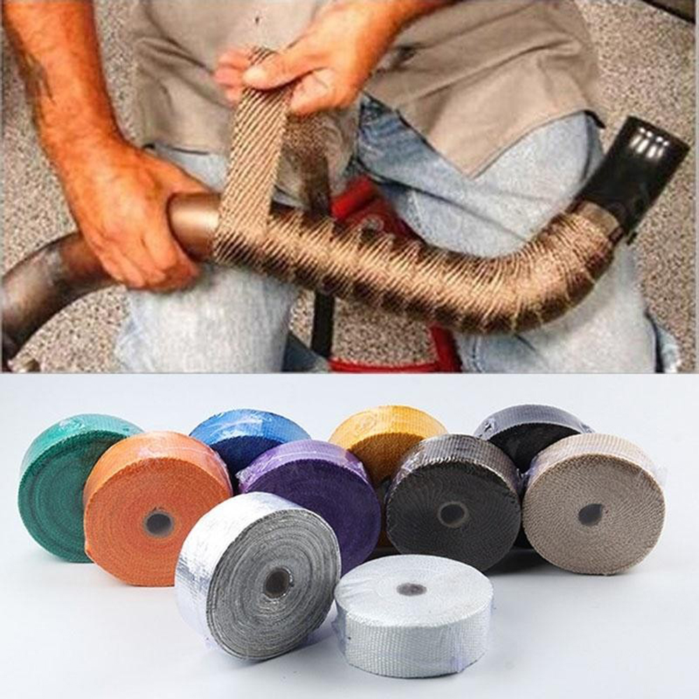 Glass Fiber Tape Auto Exhaust Pipe Wrap Insulation 900-1200 Degrees Temperature Cotton Insulation Heat Wrapped Tape High Quality