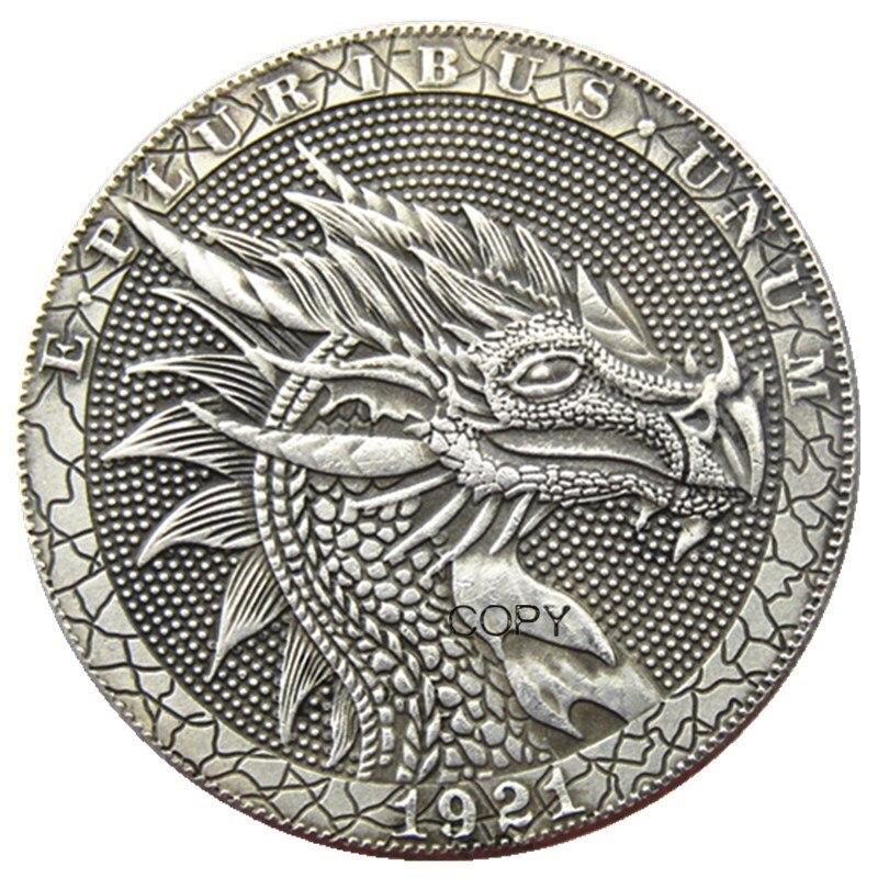 HB(114) США Хобо 1921 Морган доллар Череп Зомби Скелет посеребренные копии монет
