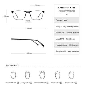 Image 4 - MERRYS DESIGN Men ไทเทเนี่ยมกรอบแว่นตาแฟชั่นชายสแควร์ Ultralight สายตาสั้นแว่นตา S2001