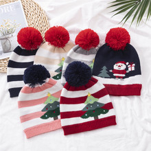 Christmas decoration 2 to 5 years old European and American children knit gift cap christmas decorations for home