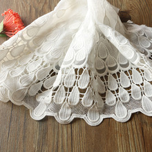 New 1Yards/Lot 27CM High Quality Lace Trim Embroidery Lace Fabric Mesh Lace Ribbon Tulle Guipure Cord Lace Sewing DIY Doll Cloth guipure lace panel frill trim sweatshirt