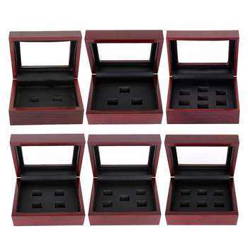 Wooden Display Box Case for Championship Ring Jewelry Boxes for World Series Cup Championship Ring 2/3/4/5/6/7 holes фото