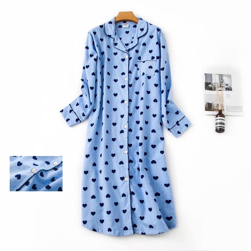 100% Cotton Extended Flannel Nightdress Women New Heart Printed Long Sleeve Sleepwear Female 2020 Autumn Winter Lady Nightwear 9