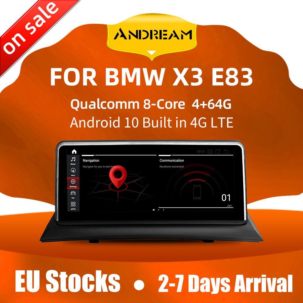10,25 дюймовый IPS экран Android 10 Qualcomm 8 Core 4G RAM, автомобильный GPS-навигатор, мультимедийный плеер для BMW X3 E83