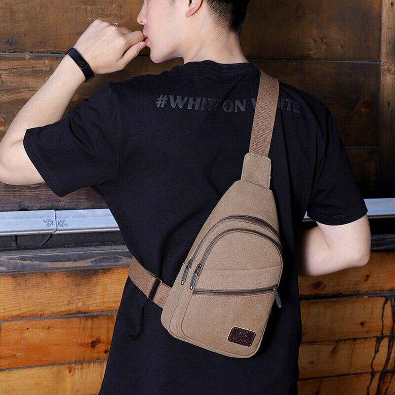 Fashion Men Boys Solid Chest Bag Zipper Single Belt Casual Shoulder Bag Messenger Bag 3 Colors