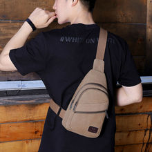 Fashion Men Boys Solid Chest Bag Zipper Single Belt Casual S