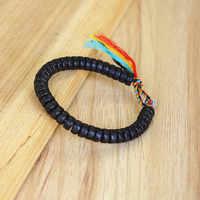 Handmade Tibetan Buddhist Braided Cotton Thread Lucky Bracelet Natural Coconut Shell Beads Carved OM Mani Padme Hum Bangle