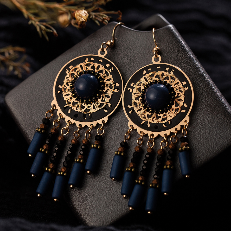 Vintage ethnic boho big blue long tassel dangle drop earrings for women fashion hanging indian jewelry gift Accessories ornament