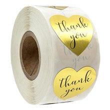 50 etiquetas adesivos coração forma ouro obrigado etiquetas selo scrapbooking para pacote papelaria etiqueta 1 polegada/rolo
