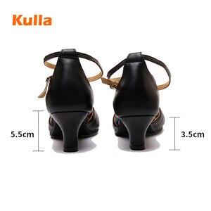 Image 3 - Salsa chaussures de danse latine femmes rouge bout fermé dames chaussures de danse de salon femme talons moyens 3.5cm/5.5cm Tango chaussures de danse