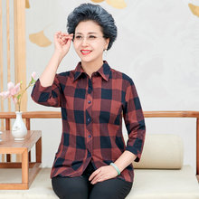 Woman Casual Shirt Spring Red Yellow Green Plaid Three Quarter Sleeve Cotton Top Turn Down Collar Checked Daily Shirts Plus Size
