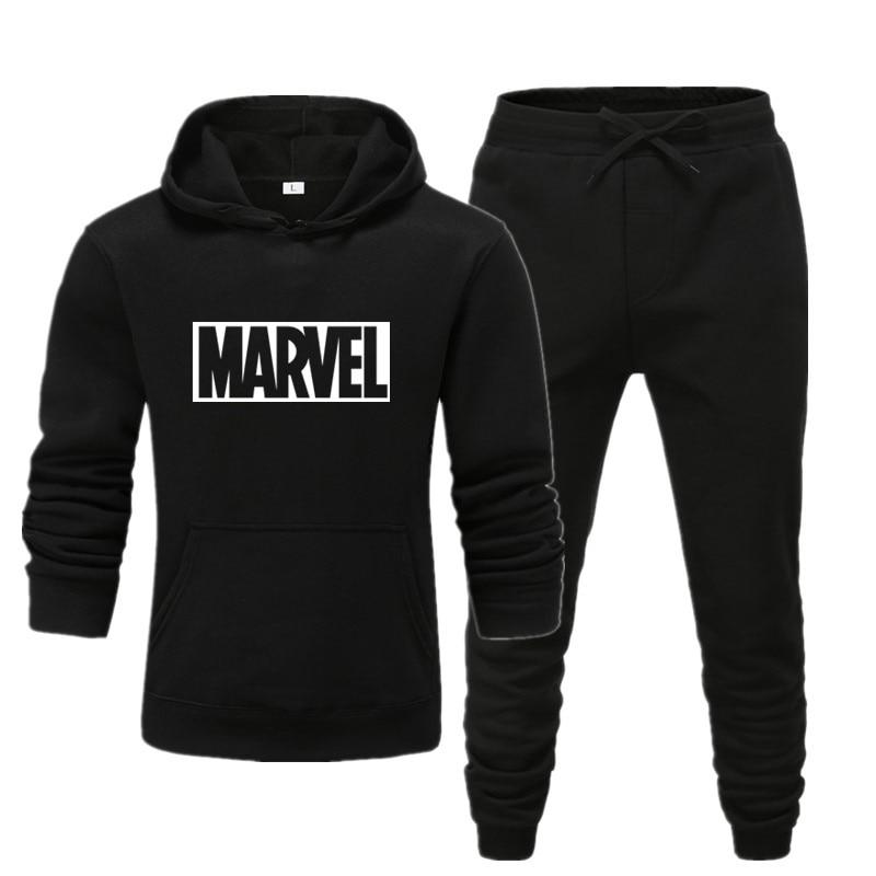 2020 New Fashion Hoodies Suits MARVEL Printing Tracksuit Men's/Women Sweatshirts Sweatpants Autumn Winter Fleece Hooded Pullover