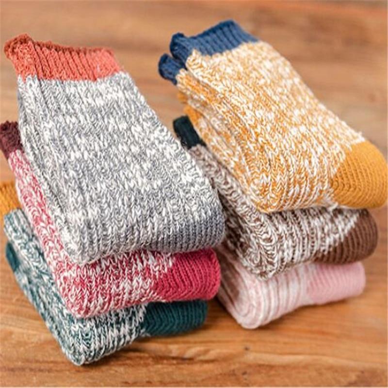4Pairs/lot Kids Girls Socks Woolen Knitted Socks for Boy Winter Warm Socks for Girls Thick Children Stuff Suitable for 1-12Years 5