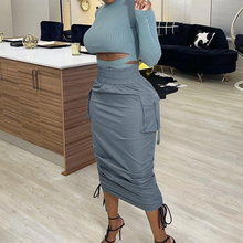 Women Spring Autumn Draped Lace-Up Skirts 2021 Elegant Solid Elastic High Waist Female Midi Skirt Office Lady Casual Solid Skirt