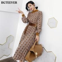 BGTEEVER Autumn Dress Women Vintage Plaid Lantern Sleeve Fem