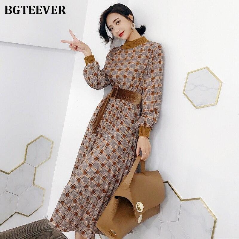 Bgteever vestido de outono das mulheres do vintage xadrez lanterna manga feminina maxi vestido elegante faixas festa vestidos femme 2019