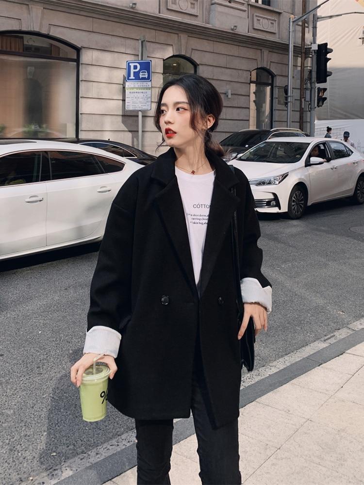 Vintage Korean Ladies Blazer Loose Casual Solid Black Stylish Suit Jacket Bleiser Mujer Spring Autumn Women's Clothing MM60NXZ