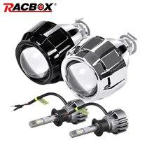 Racbox 2 pçs 2.5 Polegada mini bi xenon hid lente do projetor prata preto mortalha com h1 lâmpada led retrofit h4 h7 farol do carro conjunto