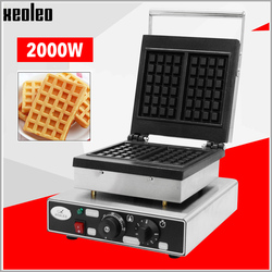 Xeoleo Stainless steel Waffle maker 2000W Double Plate Waffle machine with timing Commercial Waffle maker Belgian waffle machine