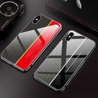 9H vetro temperato di caso per il iPhone 11 7 8 6s x xr xsmax telefono caso del modello in fibra di carbonio adatto per iPhone11promax 7p cassa del telefono