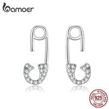 Bamoer – boucles d'oreilles en argent 925 pour femmes, bijoux de luxe, en forme de broche d'amour, Design CZ clair, pour déclaration de mariage, BSE284