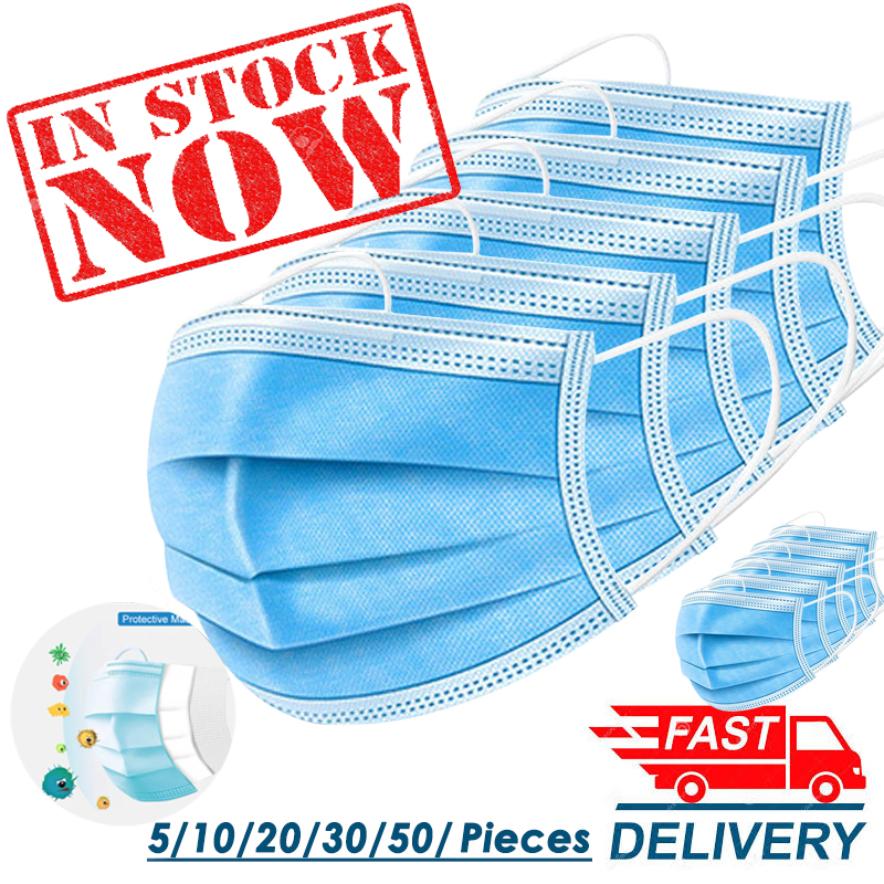 Anti-virus Masks In Stock !!! 3 Layers Disposable Masks 5/10/20/30/50Pcs/lot Dust-proof Sterile Hygienic Portable Non Woven