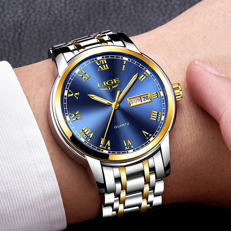 Watches Mens 2019 Fashion Quartz Gold Clock LIGE Brand Top Luxury All Steel Men Wristwatch Waterproof Date Week Dial Watch+Box