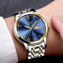 Watches Mens 2019 Fashion Quartz Gold Clock LIGE Brand Top Luxury All Steel Men Wristwatch Waterproof Date Week Dial Watch+Box