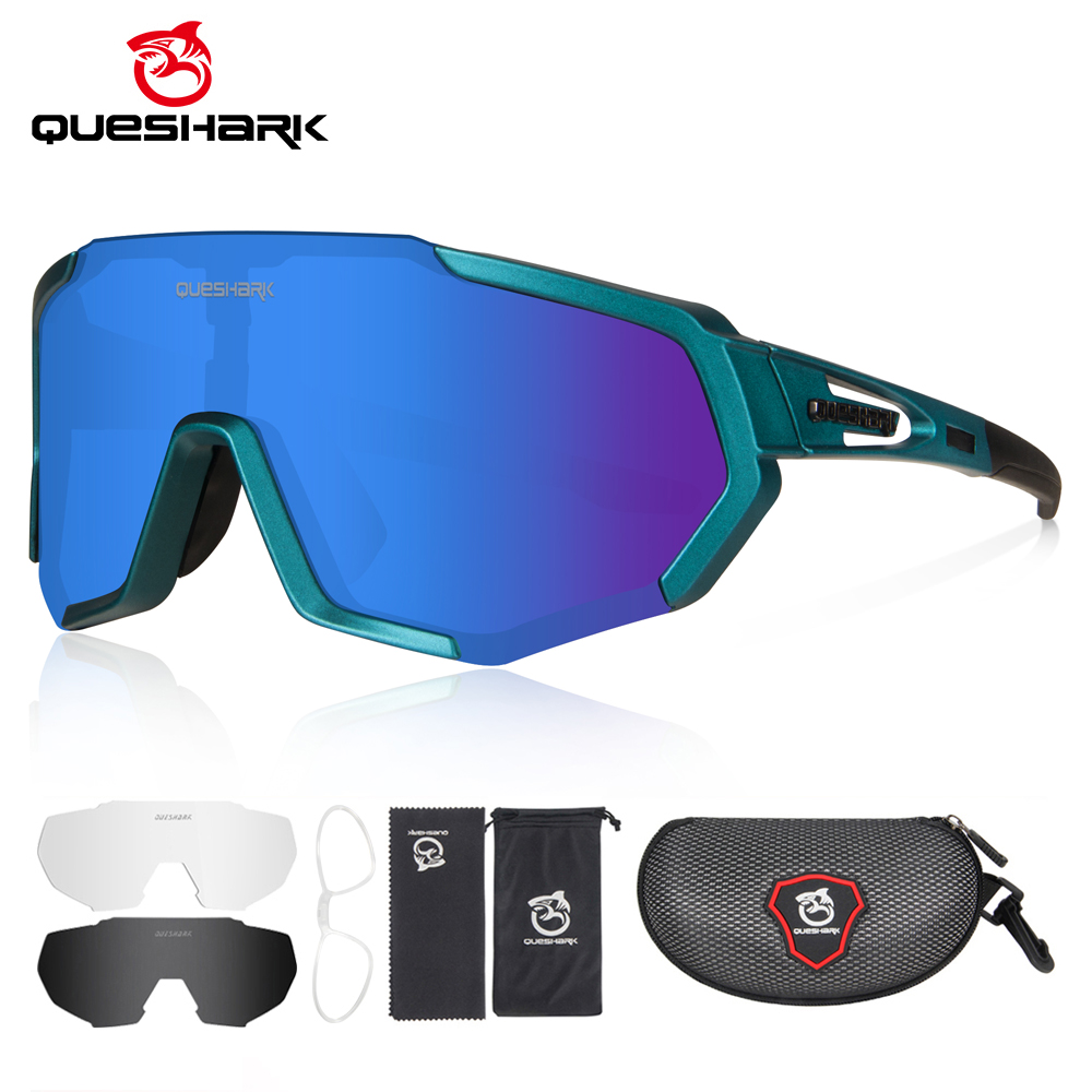 Queshark 2020 New Polarized Sports Sunglasses with 3 Interchangeable Lenses for Men Women Cycling Running Driving Fishing QE48