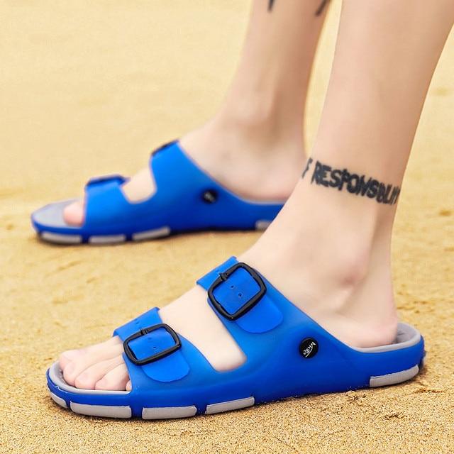 Men's Summer Slides Slippers Men Jelly Shoes Breathable Flat Slippers Water Beach Sandals Lightweight Unisex Beach Sandals 1