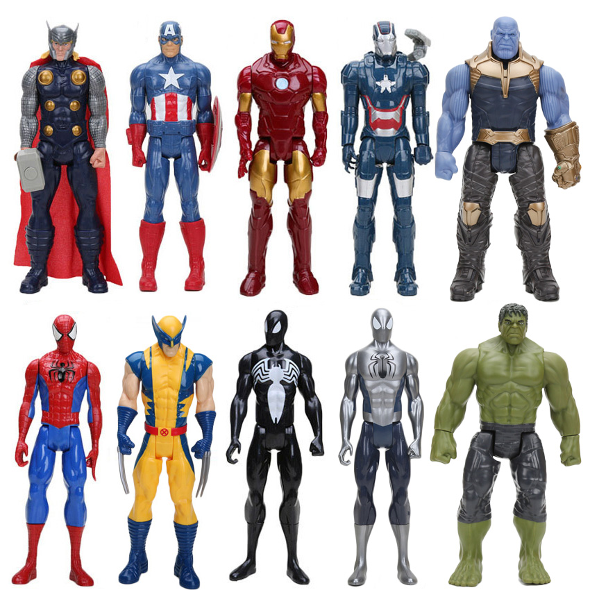 30cm os vingadores super herói homem-aranha homem-aranha thor homem de ferro capitão américa pvc figura de ação brinquedo modelo móvel