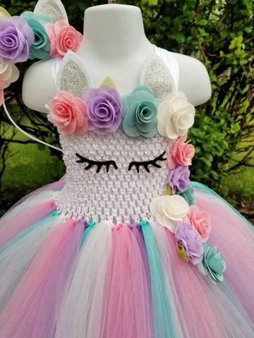 meninas croche pastel tule vestido com hairbow