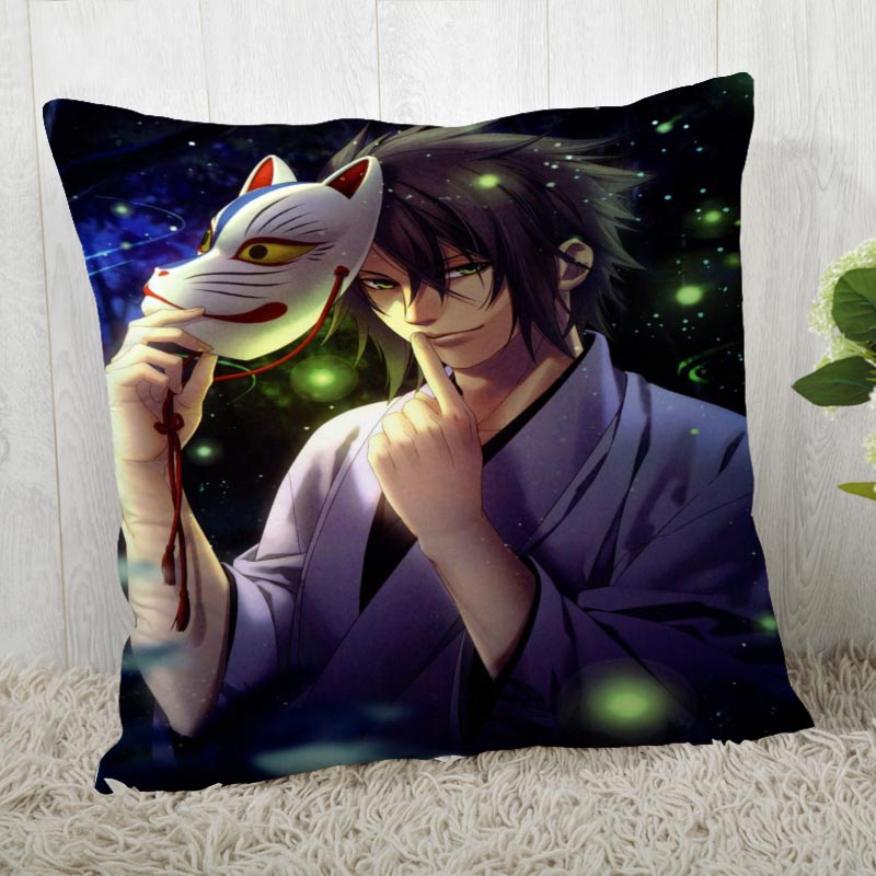 Custom Pillow Cases Hakuouki Shinsengumi Kitan Square Pillowcase Christmas Zippered Pillow Cover 40*40cm,45*45cm(One Side)