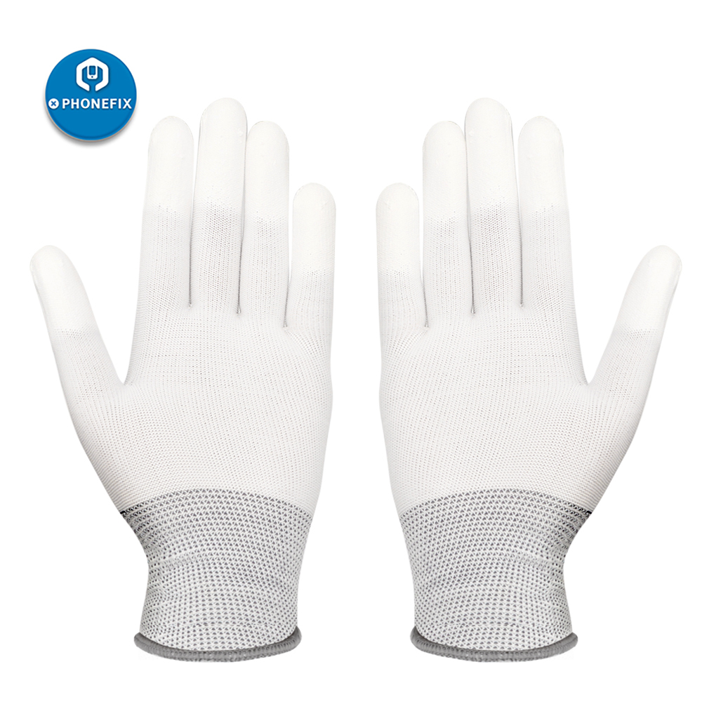 Антистатические нейлоновые перчатки, противоскользящие рабочие электронные перчатки ESD с полиуретановым покрытием для защиты пальцев, для...