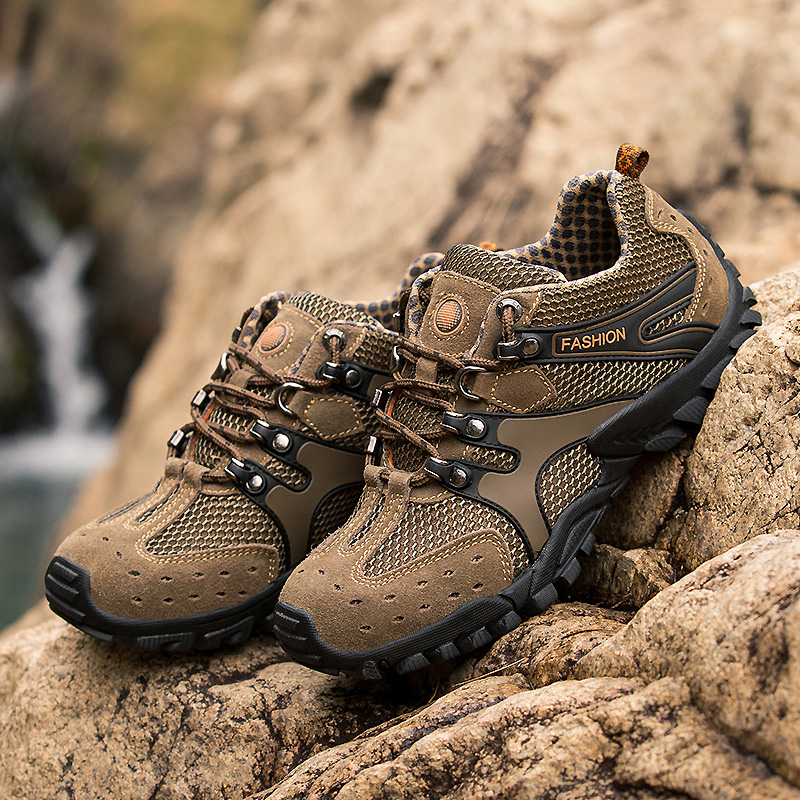 Mens Summer Trekking Shoes Outdoor Shoes Men Mesh Hiking Shoes Breathable Non-slip Mountain Climbing Shoes Zapatillas Hombre