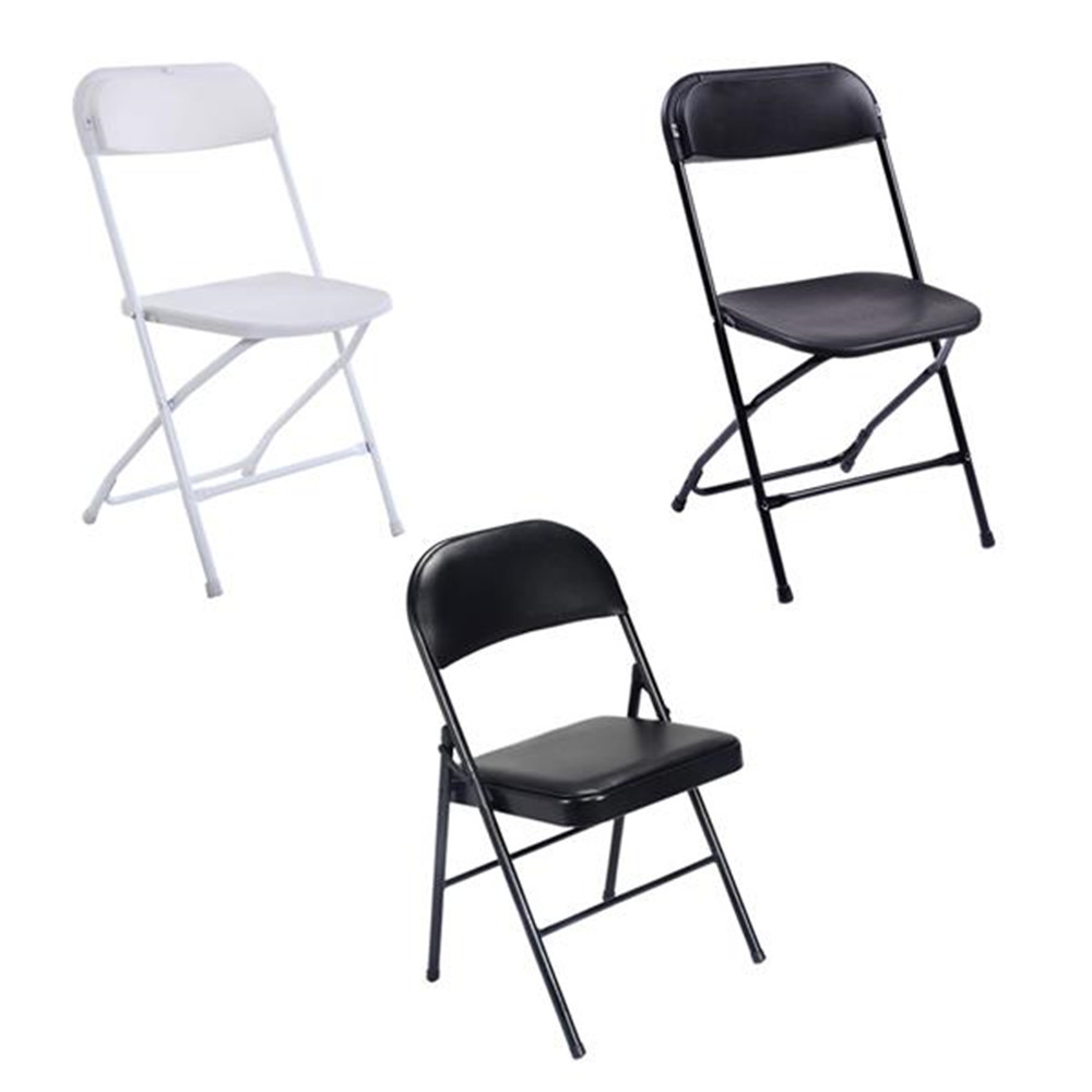 5pcs Portable Plastic Folding Chairs White Office Conference Chair Outdoor Or Home